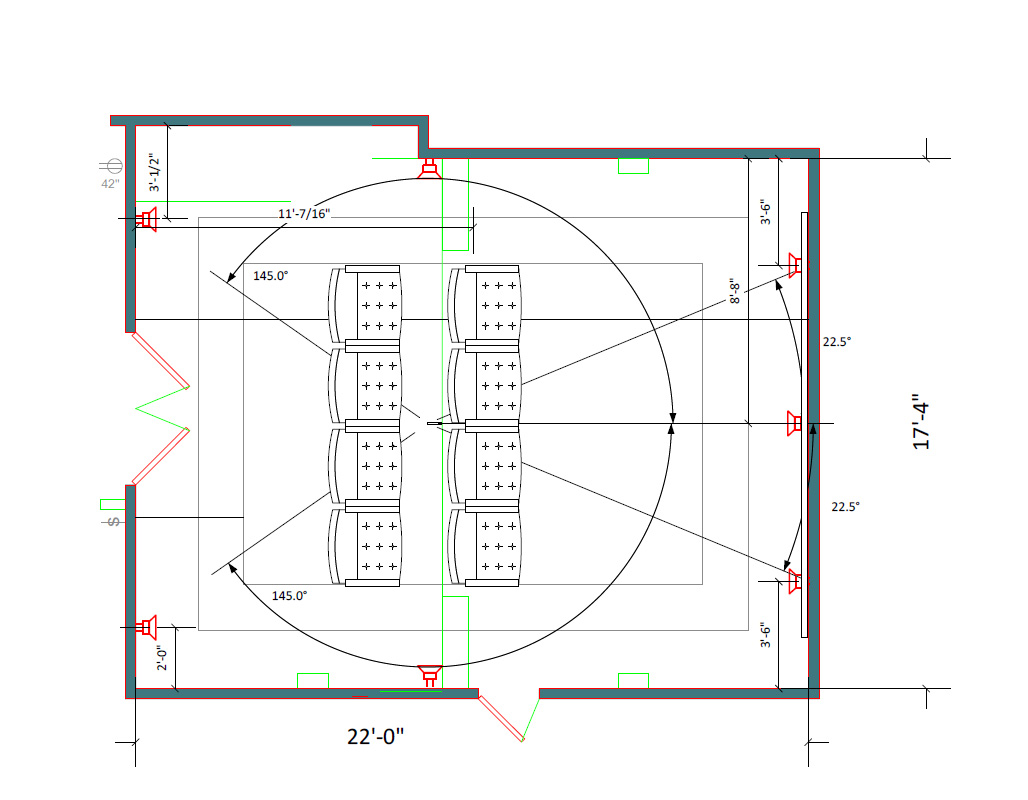 Media room layout 22' x 17'